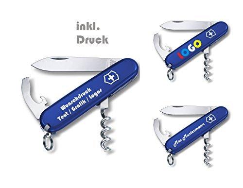 Victorinox- Original Waiter Taschenmesser Wunschtext Druck Motive Logo Schriftzug oder Grafik Digitaldruck 0.3303 (blau)