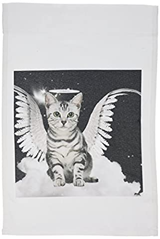 3dRose fl_62893_1 Gray Tabby Cat Angel Sitting on a Cloud with a Cute Halo and Angel Wings Garden Flag, 12 by 18Inch
