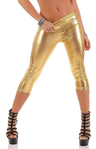 AE 3/4 Leggings Capri Wet-Look Glanz Matt Schwarz, Gr. S M L XL XXL 3XL, L-P950 Gold Glanz 3XL/46 Wet-look-capri-leggings