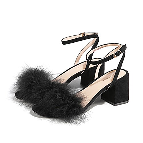 ZHIRONG Sandales d'été Open Toe femmes chaussures une boucle bouton Pure Color sandales confortables