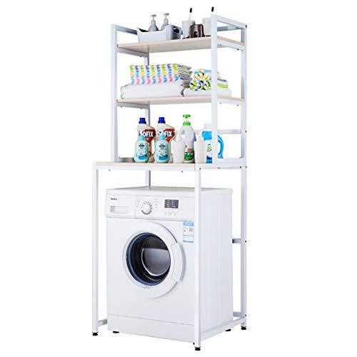 Rttzw ripiano per lavatrice cremagliera della lavatrice dell'asta del acciaio al carbonio quadrata balcone lavanderia mobile lavatrice del tamburo scaffale superiore scaffale 3 strati (due colori)