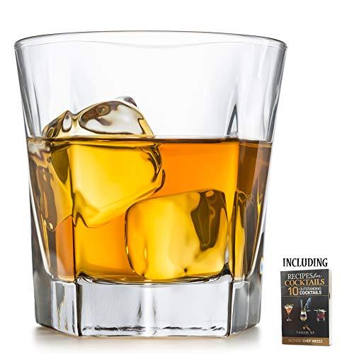 Whiskygläser, Set mit einem eleganten Design, groß, 340 ml, bleifrei, beste Glasbecher für Scotch oder Bourbon - 10 Bonus-erfrischende Cocktail-Rezepte - edle Geschenkidee für Weihnachten. (Dekanter-set Irish)
