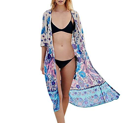 JiaMeng Damen Mantel Floral Bohemian Chiffon Kimono Cardigans Bluse Vertuschungen Frühling Herbst Stilvolle Bequeme Outwear Street Women Casual Oberteile Bluse