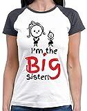 HARIZ  Damen Baseball Shirt I'm The Big Sister Große Schwester Geschwisterliebe Kinder Ostern Inkl. Geschenk Karte White/Navy S