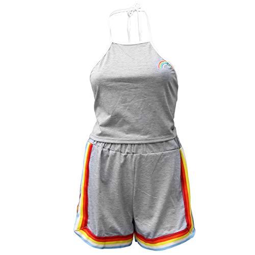 TENDYCOCO Frauen Midriff-Baring Weste Kurze Hosen Regenbogen Zweiteilige Outfit Mode Sommer Kurze Tops und Hosen Größe M (grau)