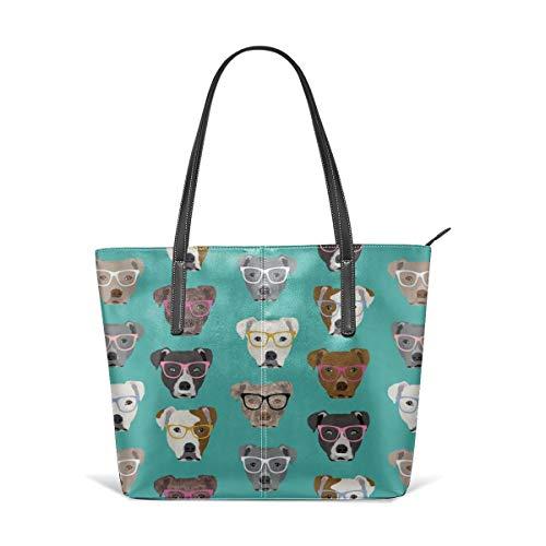 hulili Frauen weiches Leder Tote Umhängetasche Pitbull In Brille Cute Dogs Pitty Pitbull Hund Türkis Mode Handtaschen Satchel Geldbörse