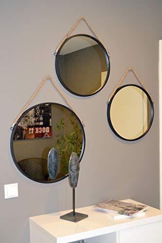 Livitat® Wandspiegel Badspiegel Flurspiegel Spiegel rund Metall Industrie ø50cm Schwarz Retro LV5093