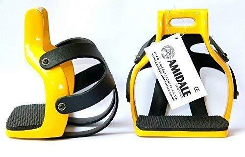 AMIDALE NUEVO Aluminio Resistente Flex Circulación Enjaulado Seguridad Caballo Estribos - Amarillo, 4.75