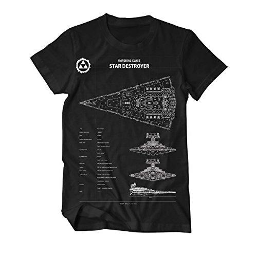Preisvergleich Produktbild Imperial Star Destroyer Blaupause Blueprint T-Shirt Herren schwarz M