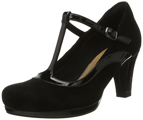 Clarks Damen Chorus Pitch T-Spangen Pumps, Schwarz (Black Combi), 42 EU