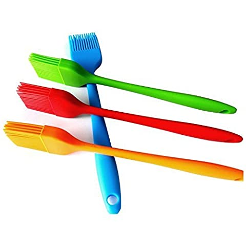 HornTide 4-Piece Silicone Brush Set Pastry Basting Grill Barbecue 21cm Heat Resistant Withstand 230°C 446°F Premium Cooking Utensils Multi-Color