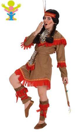 Kostüm Comanche - Comanche-Indianerin-Kostüm für Mädchen G-(9/11 Jahre)