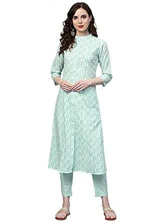 INDO ERA Women's Pure Cotton A-Line Kurta Set Pant (Green_Medium)