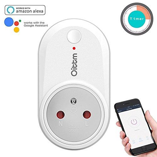 Oittm Prise Intelligente Marche avec Google Home et Amazon Alexa Prise Connectée Wi-Fi Contrôlée Smart Prise via Application avec Fonction de Minuterie et Groupe ( au Standard Français )