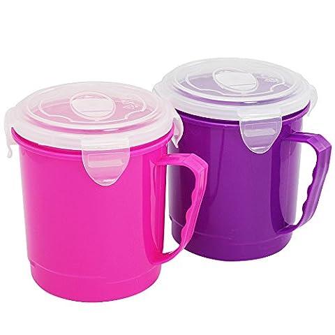 Com-Four to Go Tasse à soupe à soupe, tasse à soupe avec couvercle et poignées pour les déplacements, 700ml, dans différentes couleurs 02 Stück - lila/pink
