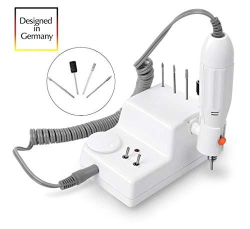 JSDA® Nagelfräser elektrisch 6MW Inkl 4 Bit Set Maniküre/Pediküre Fräser Gelnägel Nagelfeile G...
