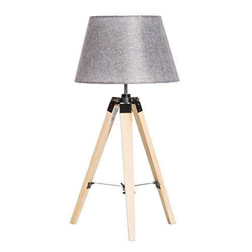 Homcom Lampadaire Trépied 35L x 35l x 68H cm Lampe de Sol 40 W Bois Style Nordique