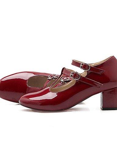 WSS 2016 Chaussures Femme-Bureau & Travail / Habillé / Décontracté-Noir / Rouge / Gris-Gros Talon-Talons / Escarpin Basique / Bout Carré-Talons- black-us6 / eu36 / uk4 / cn36