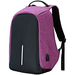 "Shop Story–Mochila antirrobo mochila impermeable para jóvenes Collégien almacenaje seguridad para ordenador portátil de hasta 15,4""carga USB externo bolsa antirrobo, color morado"