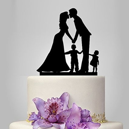 Tortenaufsatz aus Acryl, Brautpaar mit 2 Kindern: Junge und Mädchen, Familien-Silhouette für Hochzeits-, Jahrestagskuchen