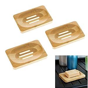 JZK 3 Natural jabonera de Madera Caja de jabón jabonera jabonera Soporte de Almacenamiento para Cocina, hogar, Ducha…