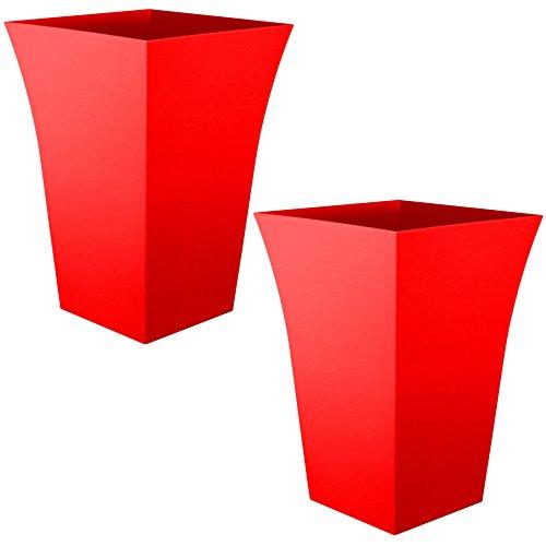 2-x-crazygadgetr-large-milano-tall-planter-square-plastic-garden-flower-plant-pot-gloss-finish-red