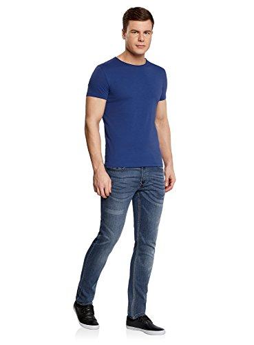 oodji Ultra Herren Gerades T-Shirt mit Rundem Ausschnitt Blau (7500N)