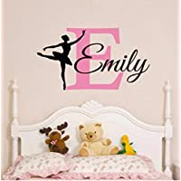 Olivialulu Beautiful Personalized Name Ballerina Custom Baby Girls Wall Sticker Home Wall Decals Girls Bedroom Wall Vinyl Art Nursery Decor Color Size Can Be Customized