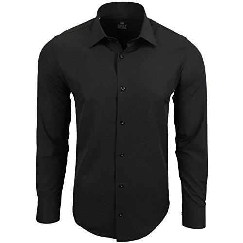 Rusty Neal Herren Kontrast Hemd Business Hochzeit Freizeit Slim Fit S bis 6XL A44, Farbe:Schwarz, Größe:4XL