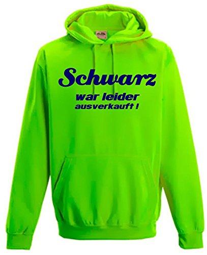 Schwarz war leider ausverkauft ! NEON SWEATSHIRT mit Kapuze HOODIE floureszierend, neongreen ()