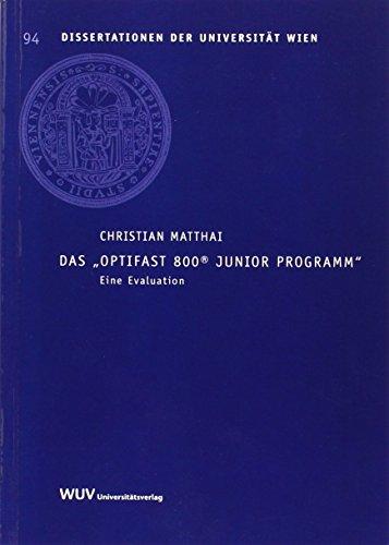 """Preisvergleich Produktbild Das """"Optifast 800® Junior Programm"""": Eine Evaluation (Dissertationen der Universität Wien)"""