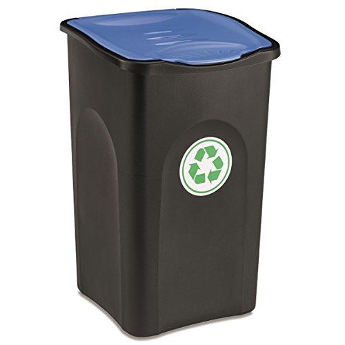 Großer Mülleimer 50 Liter mit blauem deckel robust und abwaschbar • Mülleimer, Papierkorb, Abfalleimer, Abfallbehälter, Mülltonne, Eimer, Mülltrennung, Gesamtgröße: ca. 37x37x56cm, Gewicht: ca 1,5kg. (Blau Hoch Mülltonne)