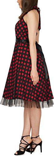 Black Butterfly 'Rhya' Vintage Polka-Dots Kleid im 50er-Jahre-Stil (Schwarz – Rote Punkte, EUR 38 – S) - 2