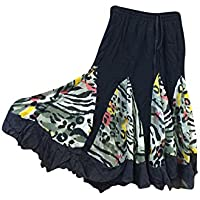 Mogul Interior Womans Boho Retro Skirt Vintage Black Printed Flare Gypsy Mid Calf Skirts