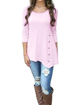 LuckyGirls Mujer Camisetas 3/4 Manga Rosa Color Sólido Botones Irregular Moda Tops Blusa Sudaderas Camisas Talla...
