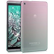 kwmobile Funda transparente para Huawei MediaPad M1 8.0 carcasa de silcona TPU para tablet funda protectora con Diseño bicolor en rosa fucsia azul transparente