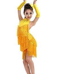 a9b6b8247d2 Concurso de belleza de chicas Niñas sin mangas Halter Backless borla Latin  Dance Dress Niños Salón