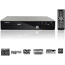 LONPOO USB 2.0 Disco DVD externo Unidad de CD Rom Reproductor de DVD digital 720p Región libre (USB, MP3, HDMI, extracción de CD) - Función completa Mando a distancia y pantalla LED -Negro