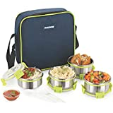 Magnus Lunch Box With Detachable Clip Lock, Leak Proof Containers & Bag, Stainless Steel, 4 Pcs Set