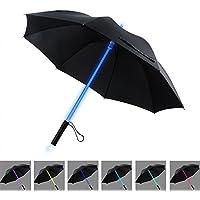 BESTKEE LED Paraguas Lightsaber Infantil Hombre Mujer, Luz para Arriba Paraguas de Golf con el Cambio de Color del Eje/Construido en la Antorcha en la Parte Inferior