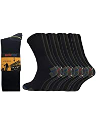 Socksmad Heavy Duty Work Socks - 12 Pairs Safety Boot Working Socks - Reinforced Heels and Toes - Cotton Rich Cushion Support for Extra Protection - Perfect for Builders, Mechanics or Guards