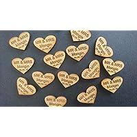 lot de 100 coeurs en bois mariage champêtre personnalisée avec un texte de votre choix