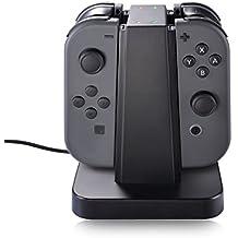 Base de Carga Joy Con, 4 en 1 Soporte de Cargador Para Joy Con de Nintendo Switch con indicación LED