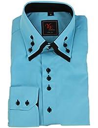 Chemise habillée turquoise double col noir