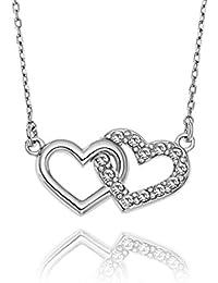 LillyMarie Damen Dezente Silberkette Silber 925 Original Swarovski Elements  Doppelherz-Anhänger Farblos Längen-verstellbar Satin… 1ec2d4a2ea