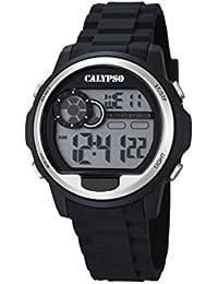 Calypso–Reloj digital unisex con LCD Pantalla Digital Dial y correa de plástico en color negro K5667/1