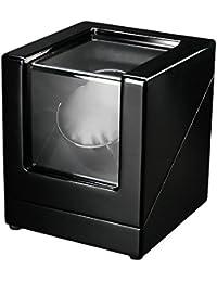 FIRWAY(TM) Remontoir à Montres Automatique pour une Montre, Fonctionner avec Batterie ou Courant Mural (Ultra-silencieux, 4 Programmes, 1 Support Amovible en Cuir) (1+0, Noir+Noir)