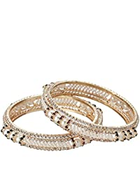 Zeneme Designer Pearl Antique Gold Plated Bangle Set For Women / Girls