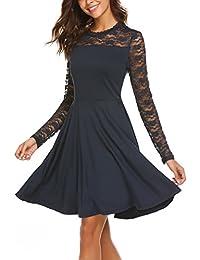 Parabler Damen Elegant Vintage Kleid Spitzenkleid Ballkleid Cocktailkleid  Festliches Kleid 3 4 Arm Party Kleid e0e899ab15