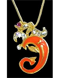 DollsofIndia Gold Plated And Stone Studded Om Pendant - Metal (HN89-mod) - Golden, Yellow